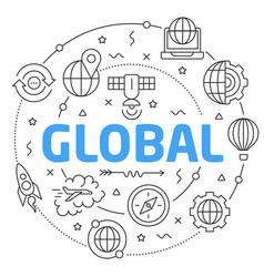 line flat circle global vector image vector image