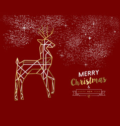merry christmas new year deer gold outline deco vector image vector image