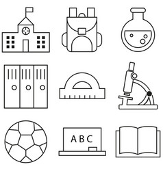 outline icon collection - school education vector image vector image