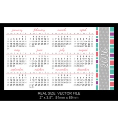 Pocket Calendar 2016 start on Sunday vector image vector image