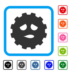 sad face smiley gear framed icon vector image vector image