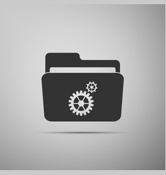 Settings folder icon isolated on grey background vector