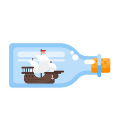 ship in a glass bottle vector image vector image