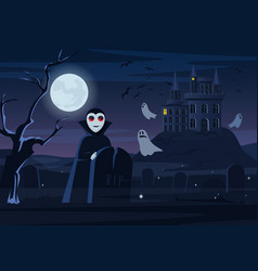 Spooky vampire and ghosts vector