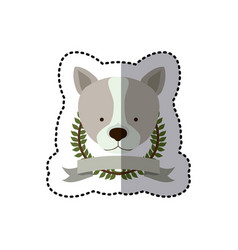 Sticker crown leaves and label with husky dog vector