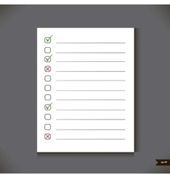 White notebook with lines and place for marks vector image vector image