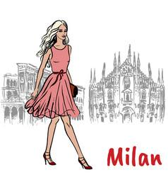 woman in milan vector image