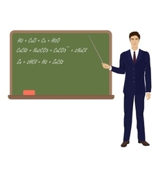 Young teacher man in suit near the desk on white vector image