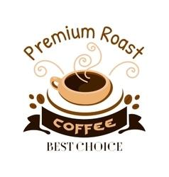 Premium roast coffe icon Cafe emblem vector image