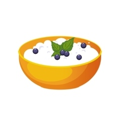 Bowl of cottage cheese with blueberry milk based vector