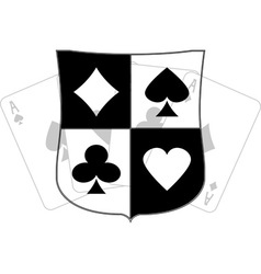 Stencil of shield with card suits vector