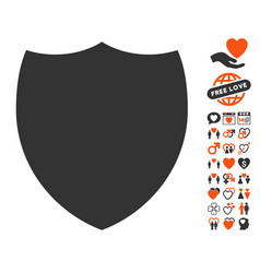 Shield icon with dating bonus vector