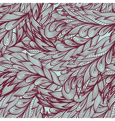 Seamless monochrome doodle pattern with feathers vector image