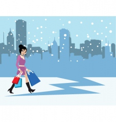 Snowing city vector
