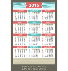 Pocket calendar 2016 start on sunday vector