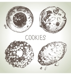 Hand drawn sketch sweet cookies set vector
