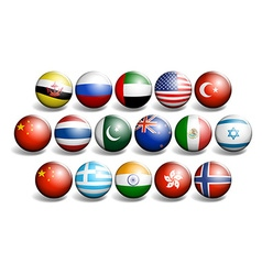 Different country flags on round ball vector
