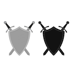 Two crossed swords steel shield emblem color vector