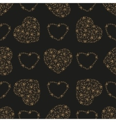 Seamless pattern with golden foil hearts vector