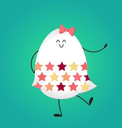 Happy easter with happy egg vector