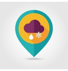Cloud snow rain flat pin map icon weather vector