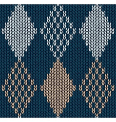 Blue color knitted ornament vector