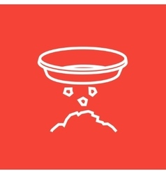 Bowl for sifting gold line icon vector