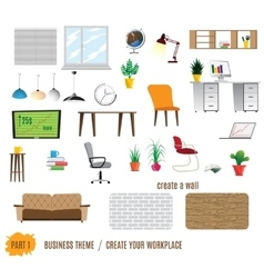 Collection of office furniture vector
