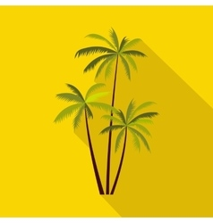 Three coconut palm trees icon flat style vector