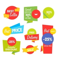 Collection of abstract label sticker tags vector