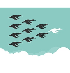 Flock of mallard flying in the sky vector