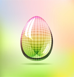 Rainbow glossy checkered egg vector