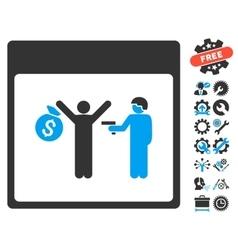 Arrest calendar page icon with bonus vector