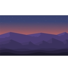 At night hills landscape of silhouette vector