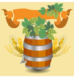 Barrel mug with wheat and hops vector image