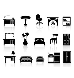 Black simple furniture icon vector