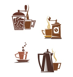 coffee and tea symbols vector image vector image