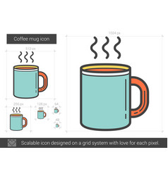 coffee mug line icon vector image