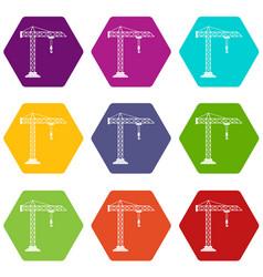 construction crane icon set color hexahedron vector image vector image