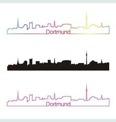 Dortmund skyline linear style with rainbow vector