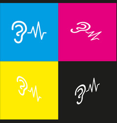 Ear hearing sound sign white icon with vector