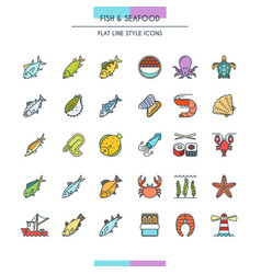 Fish and seafood icons vector