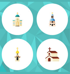 Flat icon building set of structure church vector