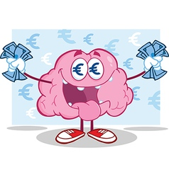 Greedy brain with money vector image vector image