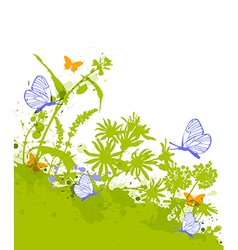Green decorative floral background vector image vector image