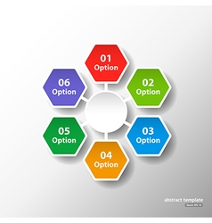 Hexagonal circle template with six options vector image