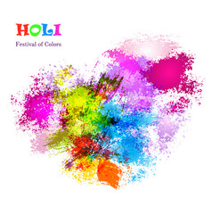 Holi celebration card with colorful watercolor vector