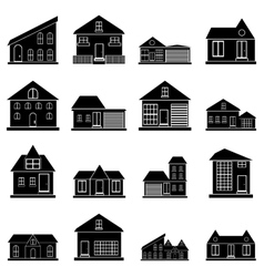 Houses icons set simple style vector