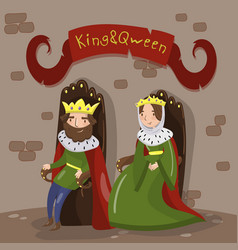 majestic king and queen in golden crowns sitting vector image vector image