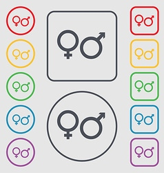 male and female icon sign symbol on the Round and vector image